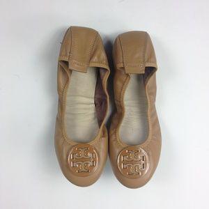 Tory Burch Tan Ballet Flats Leather Sz 10 New